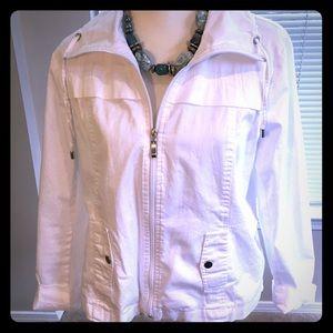 Studio Works White Cotton Jacket. Size XL Petite